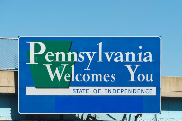 Pennsylvania Welcome Sign