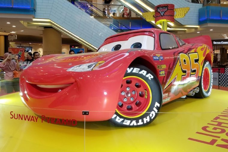 "PETALING JAYA, MALAYSIA - AUGUST 23,2017 : The exhibition and sale of merchandise from the animated film ""Cars 3"" by Pixar Animation Studio is now taking place at the Sunway Pyramid shopping mall."
