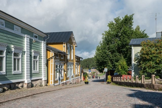 PORVOO, FINLAND - SEPTEMBER 11: Tourists walk through streets on September 11, 2017 in Porvoo, Finland. Porvoo is one of the six medieval towns in Finland
