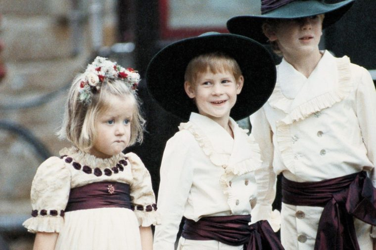 Prince Harry September 1989 Page Boy Prince Harry (c) Arrives At Viscount Charles Althorps Wedding To Victoria Lockwood L-r: Eleanor Fellowes Prince Harry Alexander Fellowes Prince Harry Was One Of The Stars At The Wedding Of The Year Yesterday - Dressed In The Height Of 18th-century Fashion. The Royal Five-year-old Was One Of Two Page Boys At The Marriage Of The Princess Of Wales' Brother Charles Viscount Althorp 25 To Model Victoria Lockwood 24. Prince Harry's Costume Was Based On A Portrait By Sir Joshua Reynolds Of An Earlier Lord Althorp Which Hangs In Althorp House. The Other Page Was Alexander Fellowes Son Of Viscount Althorp's Sister Lady Jane Fellowes. Prince Harry's Page Boy outfit Was Based On An 18th Century Joshua Reynolds Portrait Of An Earlier Lord Althorp. The Day After His Fifth Birthday Harry Was Pageboy To His Uncle The Viscount Althorp At His Marriage To Victoria Lockwood. The Wedding Took Place On The Althorp Estate In Northamptonshire.