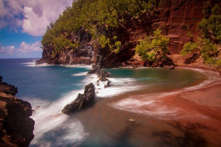 Red sand beach on maui