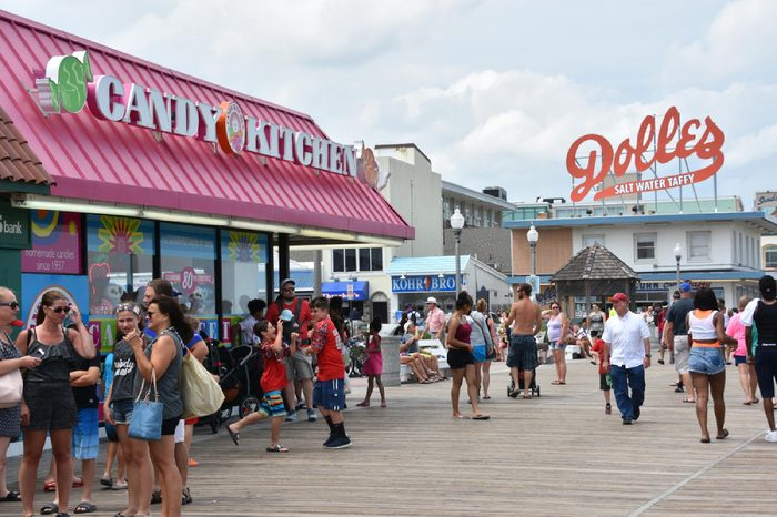 REHOBOTH BEACH, DELAWARE - JUL 1: Boardwalk at Rehoboth Beach in Delaware, as seen on July 1, 2017. It is a popular regional vacation destination.