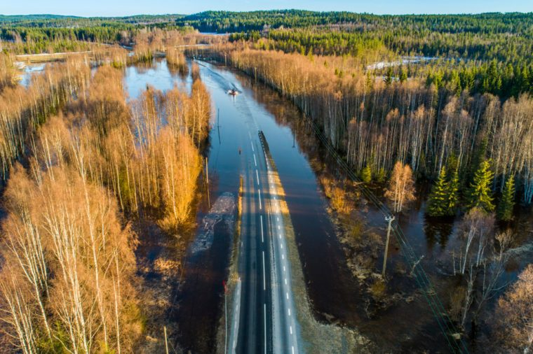 Flooded road aerial view