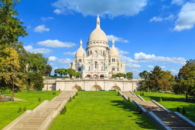A closup of Basilica Sacre Coeur in Montmartre in Paris, France