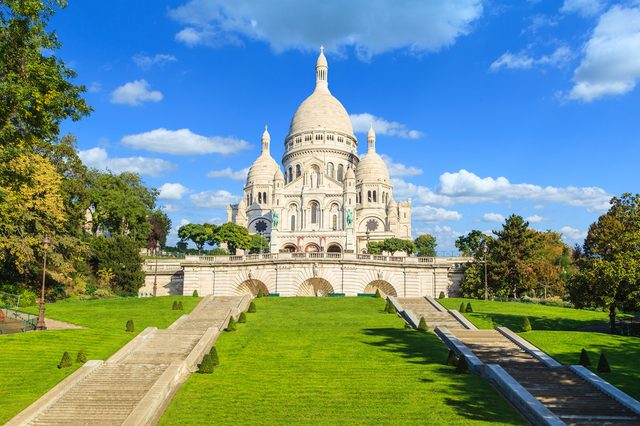 A closup of Basilica Sacre Coeur in Montmartre in Paris, France