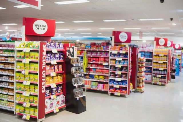 Photograph of shelves with promotions in a supermarket