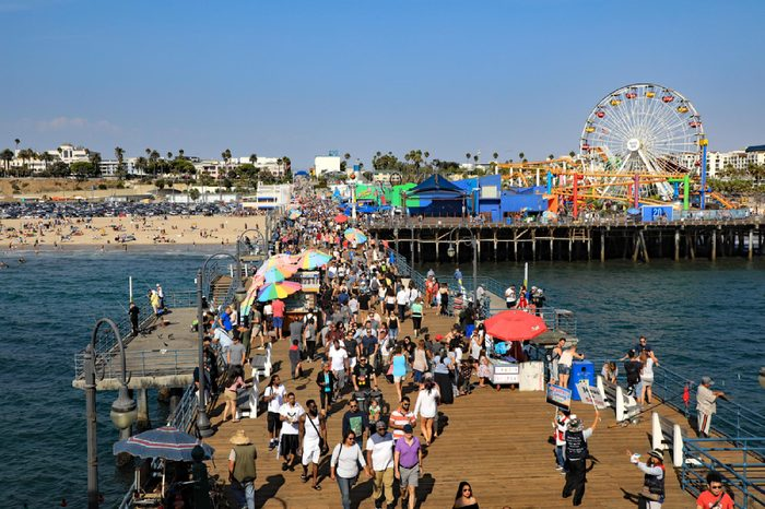 SANTA MONICA, CA/USA - SEPTEMBER 16, 2017: The Santa Monica Pier is a destination for family and tourists, for the boardwalk, and the amusement park.