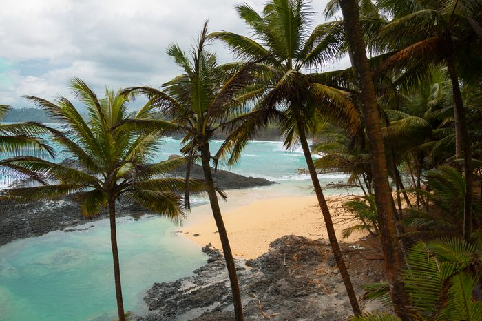 Tropical beach with palm trees and pristine blue sea. Praia Piscina, Sao tome and Principe.