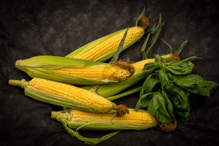 Fresh corn cob and green leaves with basil on dark backgroung, top view