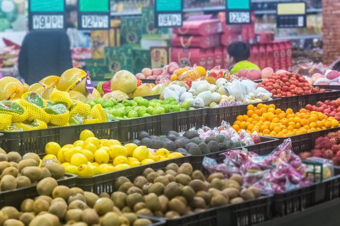 variety of fruits in supermarket, China