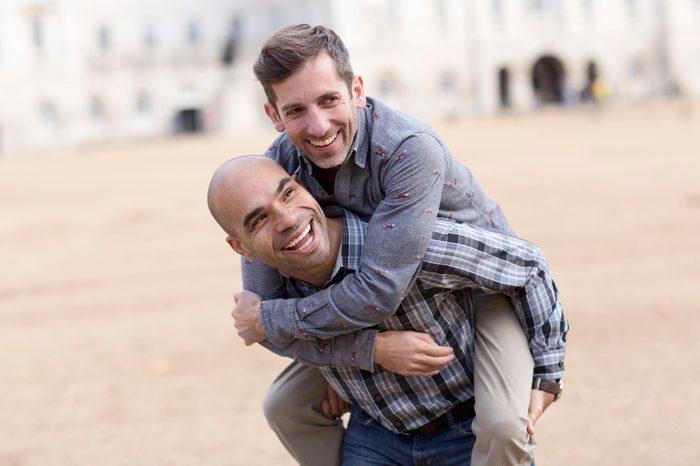 young gay couple having fun