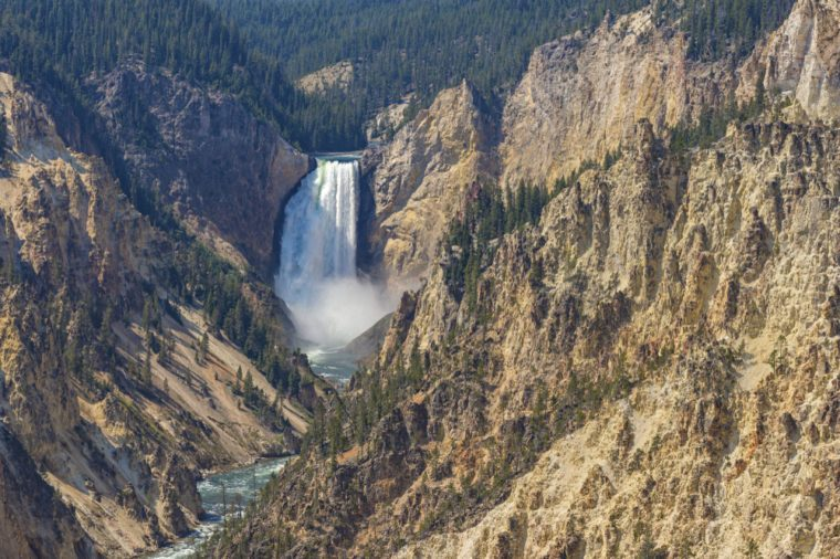 Lower Yellowstone Falls in the Grand Canyon of the Yellowstone from Artist Point Yellowstone Park Wyoming USA