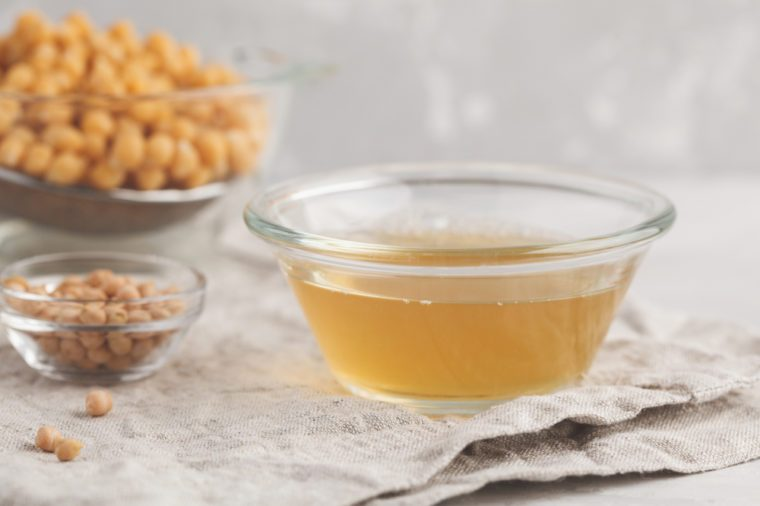 Chickpea broth - aquafaba. Replace egg in baking for vegan recipe.