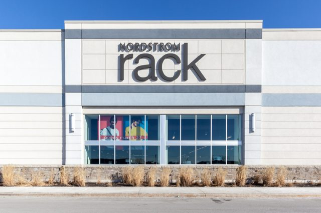Vaughan, Ontario, Canada - March 17, 2018: exterior view of Nordstrom Rack sign at Vaughan Mills mall near Toronto. Nordstrom Rack is a fashion retailer based in the United States.