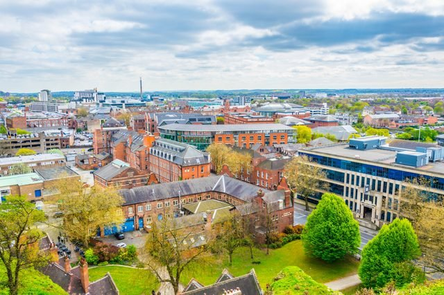 Aerial view of Nottingham, England
