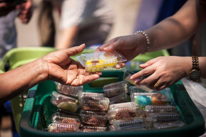 poverty concept feeding food for beggar