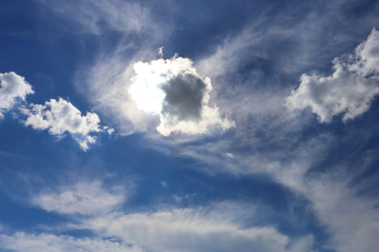 The sun is in the clouds. Summer in Siberia
