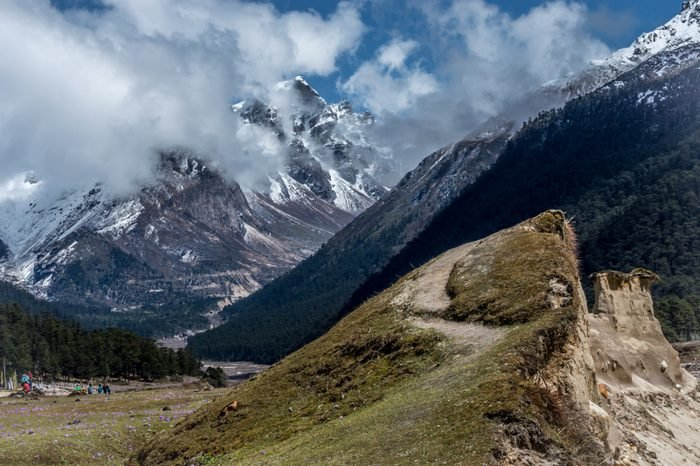 Yumthang valley, a popular tourist attraction and nature camp area on the eastern Himalayas, Sikkim, India
