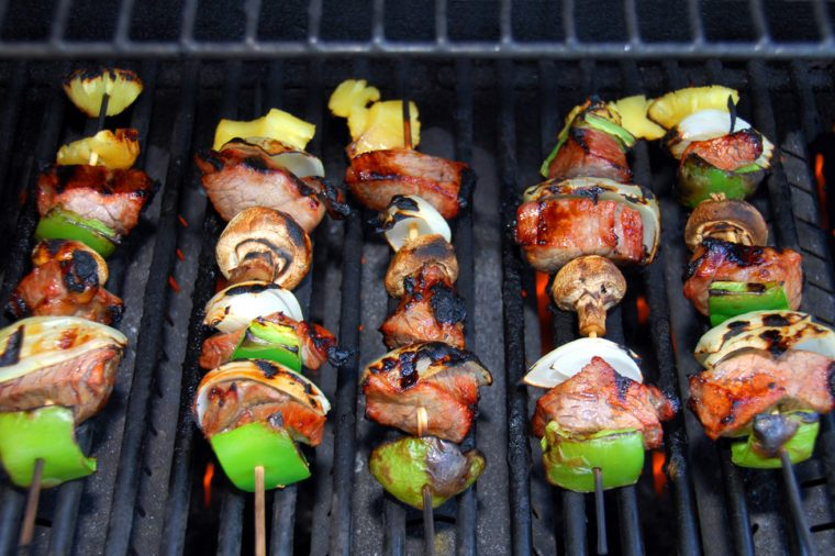 Shish Kabob Cooking On The Barbeque