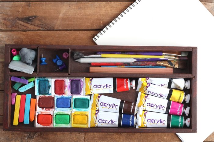 Art Supplies and Blank Sketch Pad