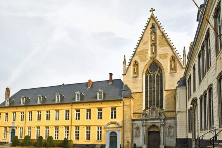 Church and square in Abbey de la Cambre in Brussels, Belgium. This abbey was known from 13 century