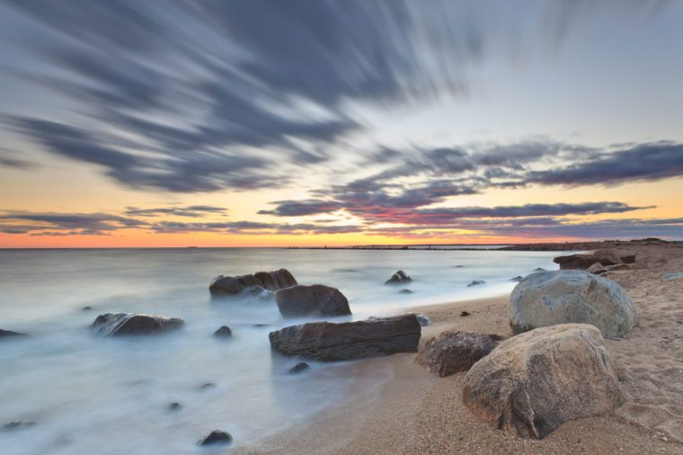Dusk at a Rocky Beach in Hammonasset State Park located in the county of Madison, Connecticut