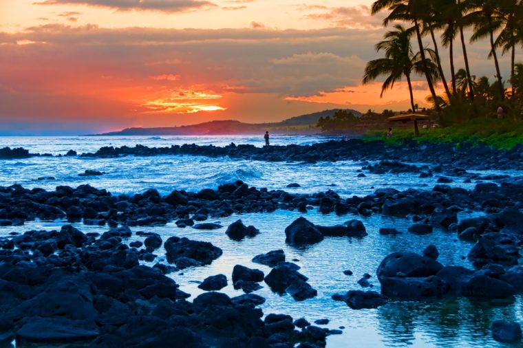 Palm trees silhouetted against a colorful tropical sunset and reflected in the Pacific Ocean on the island of Kauai, Hawaii, USA