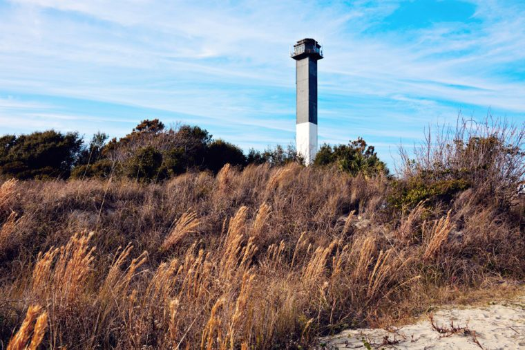 Charleston lighthouse located on Sullivan's Island in South Carolina