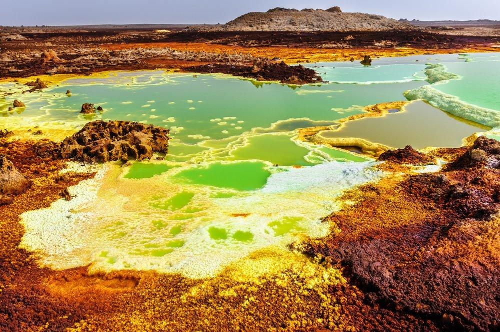 Inside the explosion crater of Dallol volcano, Danakil Depression, Ethiopia
