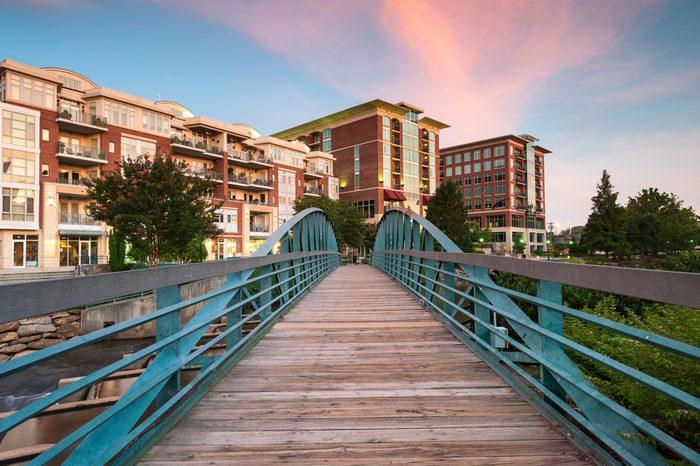 Greenville South Carolina Swamp Rabbit Trail Downtown Falls Park Sunrise Scenic