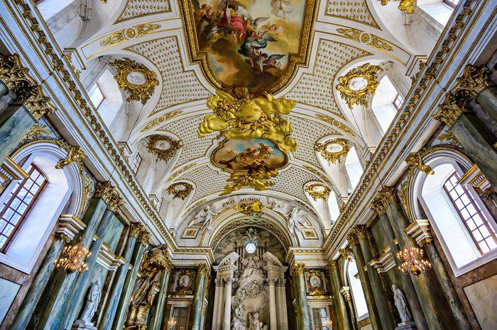 Inside the Royal Chapel (Slottskyrkan) in Stockholm. The chapel is inside the Royal Palace in Gamla Stan.