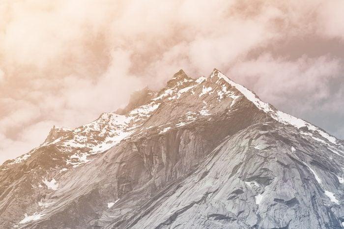 Close up top of mountains,Himalaya range,Jammu & Kashmir, India in vintage style