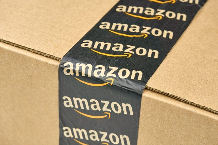 MONTREAL, CANADA - MARCH 10, 2016 - Amazon shipping box with branded tape on it. Amazon is one of the most popular and biggest online store.
