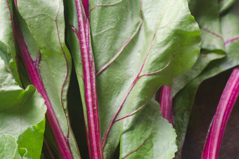 closeup to fresh beet leaves