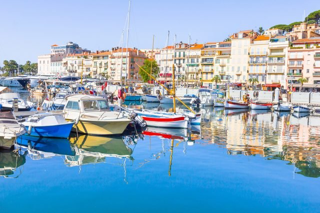 View of the old port of Cannes, France