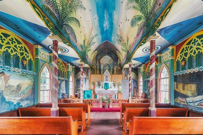 Overlooking Kealakekua Bay is St. Benedict Painted Church historical site on Big Island of Hawaii.