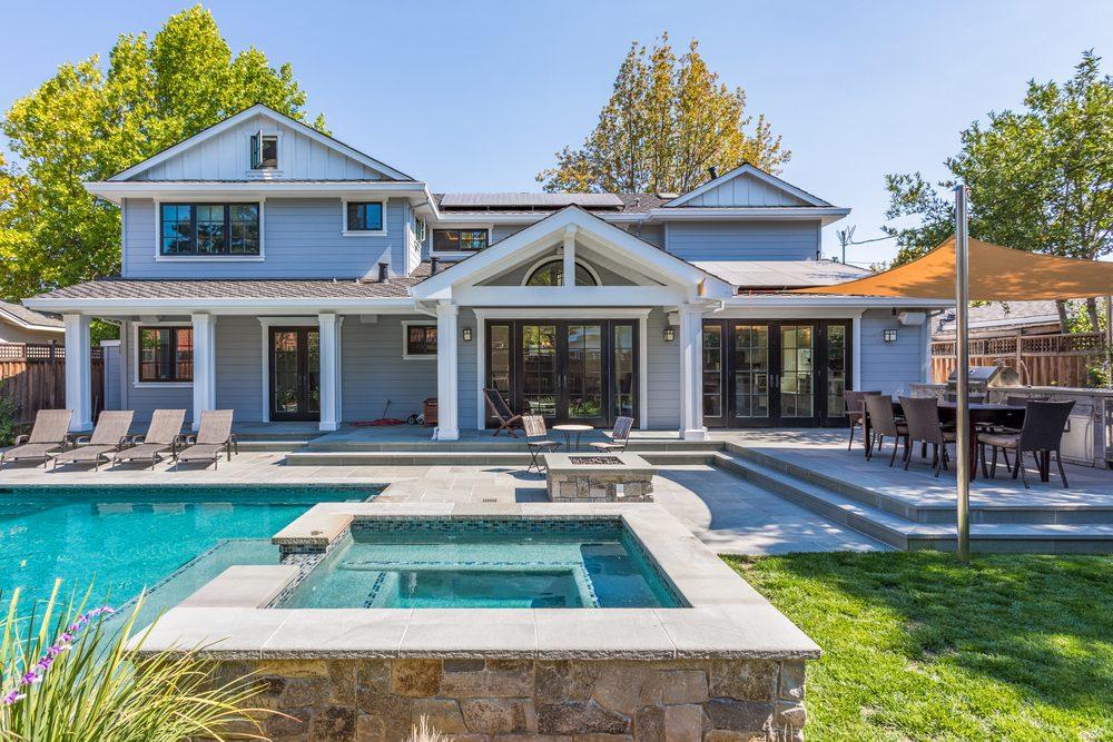 Custom Home Build, Menlo Park, California, Pool, Patio, Grass, Back Yard, Hot tub