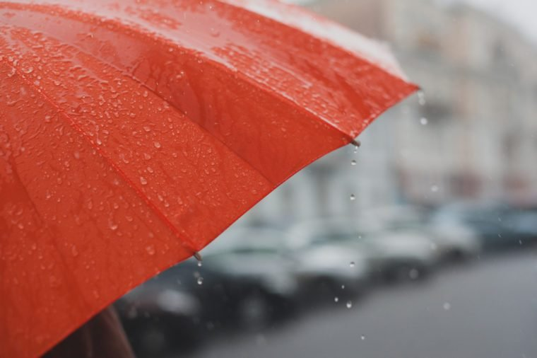 rain drops falling from a orange umbrella