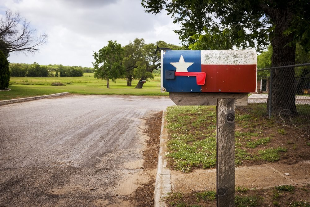 Mailbox painted with the Texas Flag in a street in Texas, USA