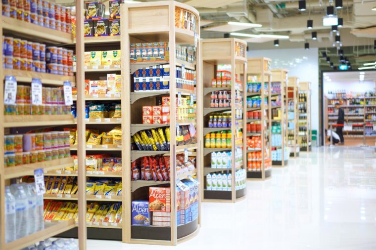 Muang Nakhonratchasima, 3 JANUARY 2017: Rows of shelves in Foodlland supermarket in Muang district, Nakhonratchasima province, Thailand. Foodland is a hypermarket chain in Thailand