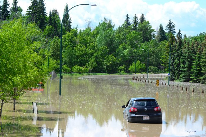 Calgary, Alberta, Canada, June 22 2013: Flooded city streets from once in a life time flood in Calgary, Alberta