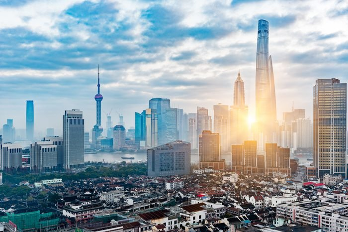 Shanghai skyline with residential district in China.
