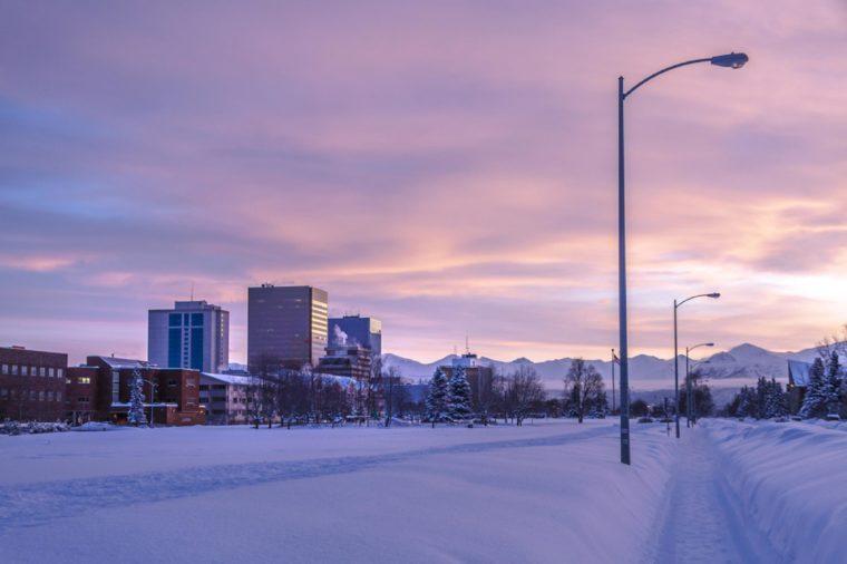 Downtown Anchorage Alaska from Delaney Park Strip