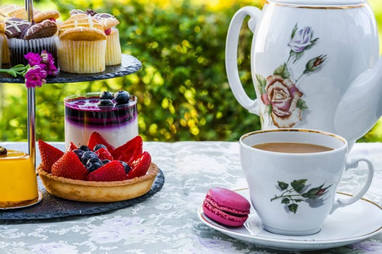 Coffee and a selection of cakes set up on in the garden