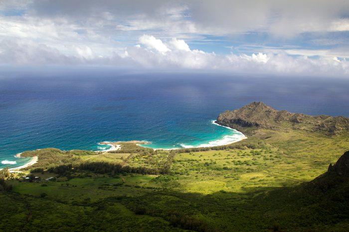 Aerial view of East Coast of Kauai, Hawaii, USA near Lihue.