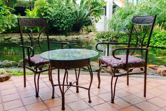 Table and chairs in garden