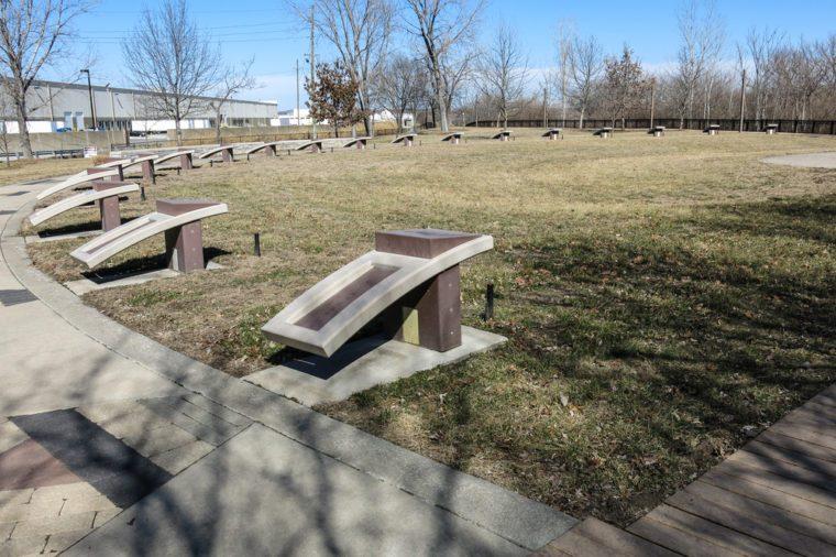 Native American tribal markers at Kaw Point park near Kansas City.