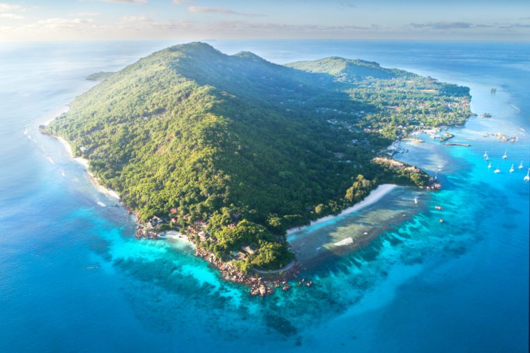 seychelles, La digue Island, Aerial drone photo