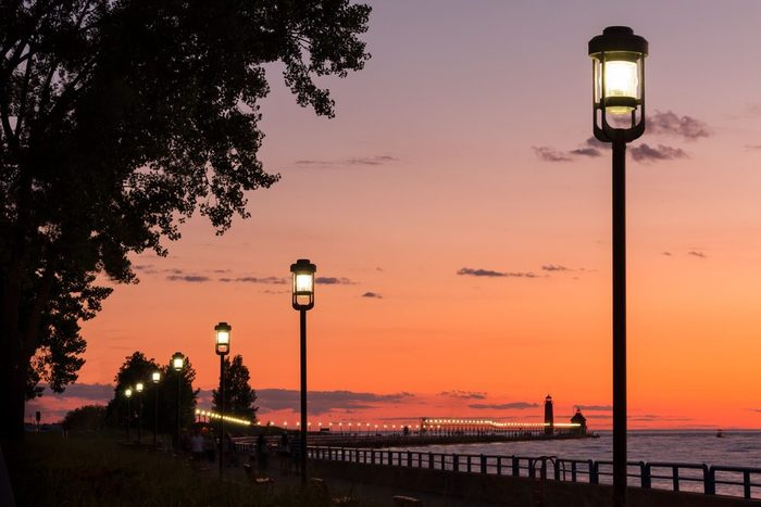 Grand Haven Pier and Lighthouse After Sun Down