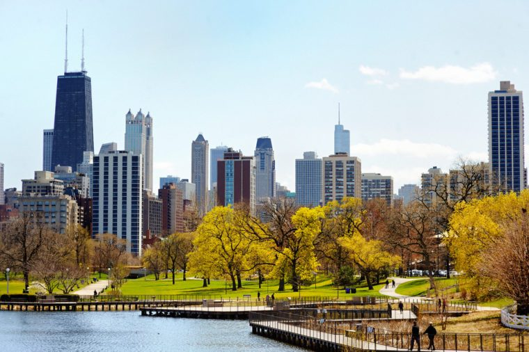 Chicago skyline with skyscrapers viewed from Lincoln Park over lake